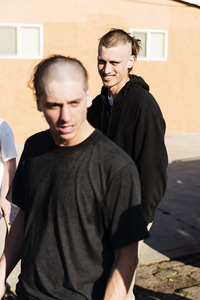 Recently I went out to Cory and Elijah's House to go skate in their hood. Apparently the night before Cory and his buddy Jake had done some late night hairstylin'.