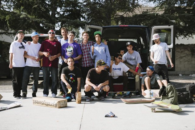 Back in June the whole crew went on a good old fashioned demo tour across the US to hype up the Pretty Sweet video. You can read a real article about it in the new Thrasher that's out now, and there's gonna be a bunch of video episodes on their site. Here's a bunch of photos that weren't in the article. This is our posse when we set sail. Not too shabby.