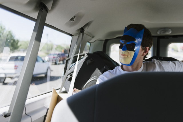 Then it was on to Salt Lake City for more action. Try and figure out who's wearing this Batman mask.