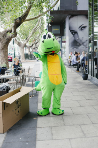 Feds had an idea to get a crocodile outfit at a costume store and came back dressed as a cut rate Barney the dinosaur.