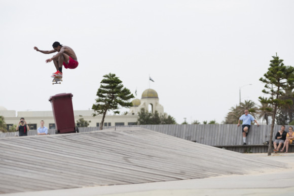 Ishod Kickflip Shifty at St. Kilda. We did a lot of time at this spot, it's awesome.
