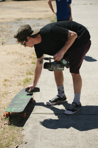 "Cory found a can of spraypaint at a spot in Melbourne and decided to help everyone ""upgrade"" their boards."