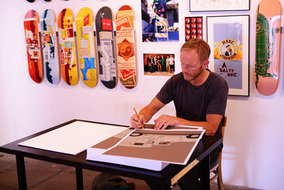 The man of the hour, Evan signing limited edition screen prints.